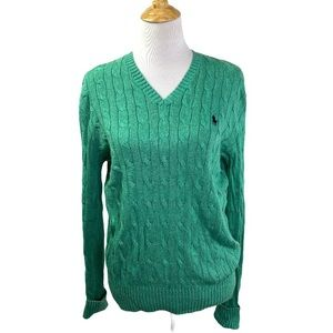 Polo RL 100% Tussah Silk VNeck Cable Knit Sweater